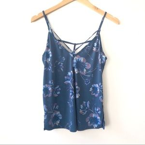 Free People Blue Floral Print Cutout Tank Top